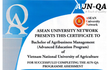 Two advanced education programs of Vietnam National University of Agriculture (VNUA) certified by ASEAN University Network - Quality Assurance (AUN-QA)